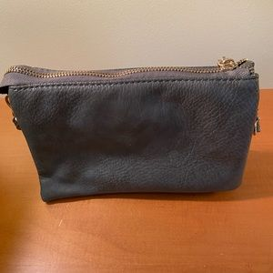 Gray leather crossbody